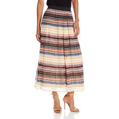 Notations Women's Printed Pleated Mid Skirt with Solid Waistband (29 CAD) ❤ liked on Polyvore featuring skirts, pleated skirts, knee length pleated skirt and notations skirt