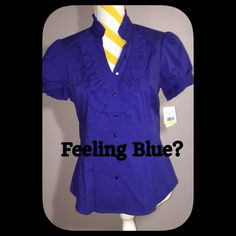 """NEW WITH TAGS! Petite Medium Blue Blouse NWT! """"John Paul Richard"""" petite medium blouse. Pleated peplum, stand up ruffled collar, ruffles on placket and sleeves. BEAUTIFUL  blue color! Great with pants or skirt! John Paul Richard Tops Blouses"""