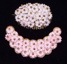Vintage Antique Lot of 2 Wired Pink & Purple Lucite Flower Brass Pins #antique