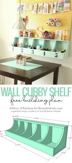 Remodelaholic   DIY Beautiful Wall Cubby Shelf - Free Building Plan Furniture Projects, Furniture Plans, Home Projects, Diy Furniture, Woodworking Furniture, Modern Furniture, Furniture Design, Rangement Art, Diy Casa
