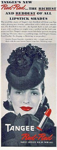 Tangee Lipstick ad, 1941 by christine592, via Flickr vintage, makeup, 1940s, fashion, vintage fashion