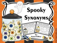 "Try a sweet but spooky activity with your students this Halloween! This FREEBIE includes a synonym activity called ""Spooky Synonyms"" in which students must color-code candy synonyms.   This works well as an individual, partner, or center activity. It is also great for thesaurus practice!"