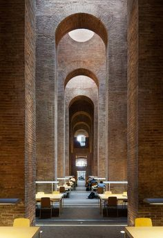 This is a The Biblioteca de les Aigues is designed by Lluís Clotet Ignacio Paricio and is located in // Photo by Simon Garcia - Architecture and Home Decor - Bedroom - Bathroom - Kitchen And Living Room Interior Design Decorating Ideas - Library Architecture, Brick Architecture, Contemporary Architecture, Architecture Details, Interior Architecture, Landscape Architecture, Online Architecture, Monumental Architecture, Brick Building