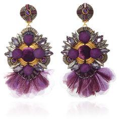 Ranjana Khan Amethyst Gunmetal Brass Earrings (2 755 SEK) ❤ liked on Polyvore featuring jewelry, earrings, metallic, amethyst earrings, ranjana khan, earring jewelry, metallic jewelry and ranjana khan jewelry