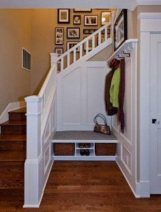 Back door would be ground level entry, then up to kitchen on left stairs, basement thru door on right, bench and hooks in the middle.  Perfect.  Laundry around the corner of the basement stairs.