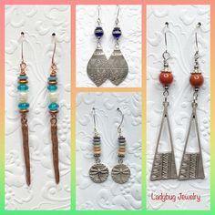 Metal, boho, glass, pearls Ladybug Jewelry, Washer Necklace, Drop Earrings, Pearls, Boho, Metal, Glass, Drinkware, Beads