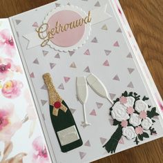 Wedding Day Cards, Beautiful Handmade Cards, Marianne Design, Anniversary Cards, Champagne, Bottle, Scrapbooking, Glasses, Decor
