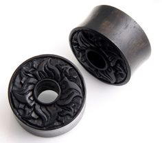 Pair Tribal Floral Carved Double Flare Organic Areng Wood Ear Tunnel Plugs