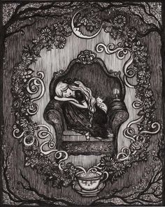 This is a high quality print measuring at 5 inches by 7 inches. It is professionally printed and comes titled and signed in the back by the artist. ❧The sleepy dreamer curled up in her chair has fallen fast asleep. Lemon balm, chamomile, rose buds and lavender woven together have brought the sweetest dreams.❧ ©ArtbyLadyViktoria ❧Your print will arrive in a clear sleeve,mailed flat and supported by backing board to ensure no damage is done to the piece. Will be mailed tracked and insured I…