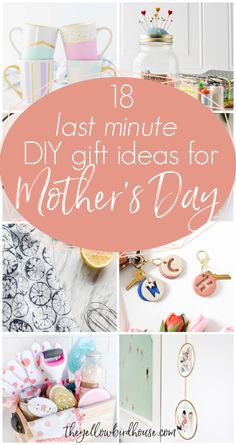 18 Last minute DIY gift ideas for Mother's Day. The last minute is not a problem because these gift ideas for mom are still so thoughtful and fun! She'll love them. All these DIY gifts are simple to make or assemble in a hurry, with no special or hard to find materials required. Last Minute Diy Mother's Day Gifts, Morhers Day Gifts, Mother's Day Special Gifts, Mothers Day Special, Mother's Day Diy, Diy Gifts For Mothers, Mothers Day Presents, Mother Gifts, Diy Presents