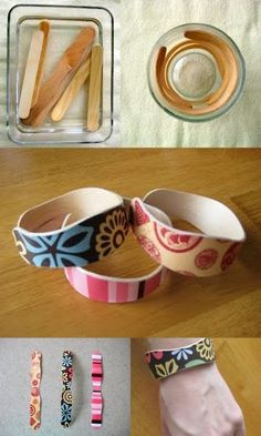 Popsicle stick bracelets: Soak in water for 3hrs and place in cup to dry. Modge Podge your favorite paper to it. by Raerey