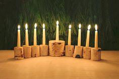 DIY birch menorah
