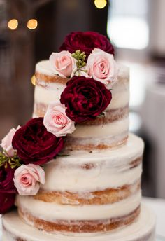 Romantic naked cake, dark red and pink cascading florals // Fotowerks Custom Photography
