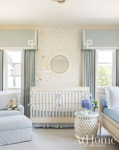 Home Decor Habitacion Childrens Nursery Design Ideas and Inspiration Blue and White Home White Nursery, Baby Nursery Decor, Nursery Neutral, Baby Decor, Nursery Room, Kids Bedroom, Baby Blue Nursery, Blue Nursery Ideas, Kids Room Curtains