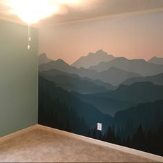 Items similar to mountain mural blue ombré mountain wallpaper forest tree and mo Large Wall Murals, Nursery Wall Murals, Bedroom Murals, Nursery Wallpaper, Kids Wall Decals, Bedroom Wall, Mural Wall, Painted Wall Murals, Bedroom Ideas