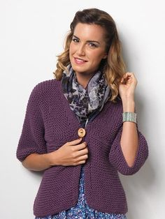 This is a great garment to wear over trousers, a skirt or a dress. It is very quick to knit as the wool is used double and it is knitted on large needles.The whole pattern is knitted in garter stitch. The garment was featured in Let's Knit Magazine.