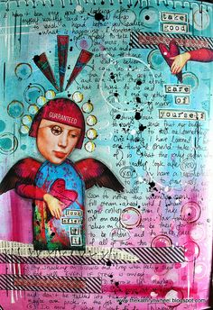 Art Journal page by Kate.  Especially love the colors and her use of hearts!