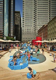 Imagination Playground in New York. Children can build their own playground, in combination with sand or water.