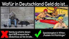 Wofür in Deutschland Geld da ist... Hamburg schickte diesen April 900 einquartierte Obdachlose auf die Straße... Spezialangebot in Witten: Paddeln mit Flüchtlingen!