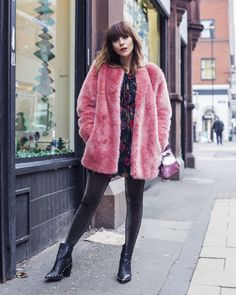 Pink coat and glittery tights! Megan Ellaby