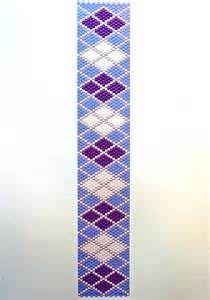 Purple/White Argyle - Peyote Stitch Beading Pattern | FotoFuze
