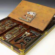 View this item and discover similar metalwork for sale at - An exceptional brass bound mahogany box containing a comprehensive selection of measuring instruments. Adapted with heavy gauge brass brackets so the box Antique Tools, Old Tools, Vintage Tools, Lathe Tools, Woodworking Tools, Tool Organization, Tool Storage, Sheet Metal Gauge, Engineering Tools