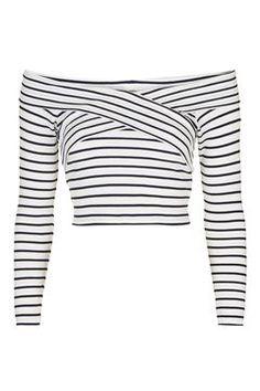 PETITE Bardot Stripe Top