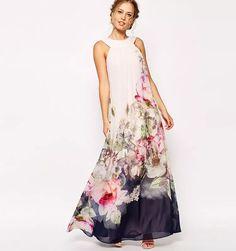 2017 Summer Floral Print Maxi Dresses Womens Beach Club Casual Loose  Chiffon Sleeveless O Neck Long 97b894686c2d