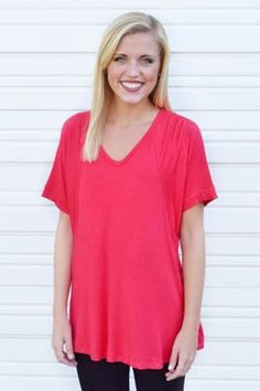 Comfort To The Max Tee-Cherry #basics #new #tees #tops #under-40