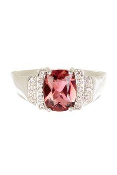 18K White Gold Diamond & Cushion Pink Tourmaline Ring on HauteLook