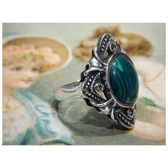 Malachite Sterling Silver Marcasite Ring Art Deco Revival Green... (295 ILS) ❤ liked on Polyvore featuring jewelry, rings, vintage art deco rings, vintage marcasite ring, gemstone rings, cocktail rings and boho rings