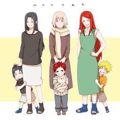 Mikoto, Sasuke, Gaara's mother, Gaara, Kushina, and Naruto #Naruto