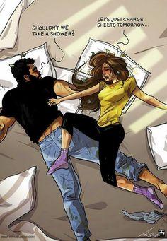 Художник рисует комиксы о повседневной жизни со своей женой 15