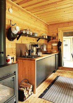 kuva Cottage Renovation, Log Homes, Modern Decor, Liquor Cabinet, Tiny House, Building A House, Kitchen Decor, Ikea, Home And Garden