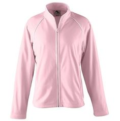 Augusta Sportswear Girl's Open Bottom Long Sleeve Brushed Tricot Jacket. 4341 Description Heavyweight 100% polyester brushed tricot, Girls fit, Center front zipper with white accent piping, White piping in front and back armholes, Raglan sleeves, Front pockets, Double-needle hemmed sleeves, Open bottom, Machine-washable, Individually polybagged. G0tApparel