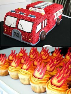 love the flame cupcakes. Totally Awesome Truck Birthday Cakes: Fire Engines, Bulldozers, You Name It! | iVillage.ca
