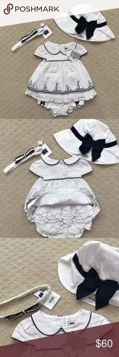 🎉 HP 3/9 🎉🎉 NWT Janie and Jack Nautical Set Brand new with tags! Adorable set from Janie and Jack for a baby girl. Includes dress with ruffle butt bloomers, headband, and sun hat with bow. Would prefer to sell as a set, but would be open to selling individually. Dress is 3-6 months, hat is 6-12 months and headband is one size. Makes a great gift! Bundle & save! Janie and Jack Matching Sets