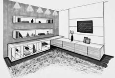 Artwork For Home Decoration Rendering Interior, Interior Architecture Drawing, Drawing Interior, Interior Design Sketches, Sketch Design, Architecture Design, Perspective Room, Perspective Sketch, Architecture Symbols