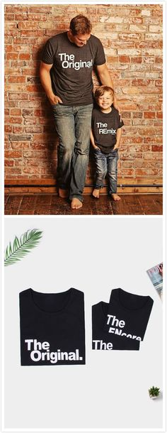 """ow can you miss this fashion daddy and me matching tops? The letter pattern of the boy is """"The REmix"""". The girl is """"The ENcore"""". These matching t-shirts are perfect for casual, ourdoor, or just because."""