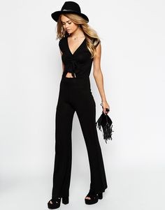 Image 4 of ASOS 70's Jumpsuit with Tie Front