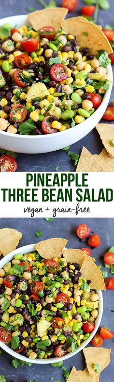 A few simple ingredients & 5 minutes are all you need for this vegan Pineapple Three Bean Salad! Serve with chips to make it the perfect healthy party dish. (Vegan Bbq Families)