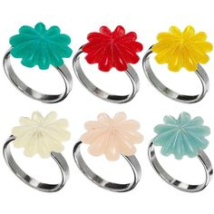 Gogo Philip Set Of 6 Flower Rings ($3.36) ❤ liked on Polyvore featuring jewelry, rings, multi, floral jewelry, gogo philip, flower jewellery, flower jewelry and floral ring