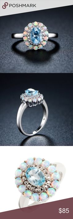 Fire opal and genuine Blue Topaz flower ring 18K White Gold Plated Diamond Lab Created Fire White Opal & Genuine Blue Topaz Flower Ring, size 6 Jewelry Rings