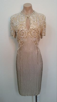 Neiman Marcus Vintage Dress. Beaded Sequined White Cream Cocktail Dress. New Year's Eve. Size 8 by ShopBoAndMo on Etsy