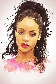 #Rihanna Black Girl Art, Black Women Art, Black Art, Art Girl, Celebrity Drawings, Celebrity Portraits, Rihanna Drawing, Hip Hop Art, Magic Art