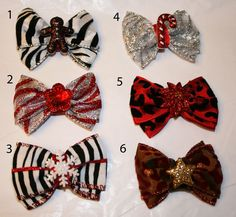 Mini Holiday Animal Print Bows by HodgePodgeBowtique on Etsy, $4.50