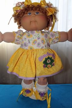 "Cabbage Patch Doll Cloths - Yellow/Mauve dress, panties, Shoes, Bows - fits 16""…"