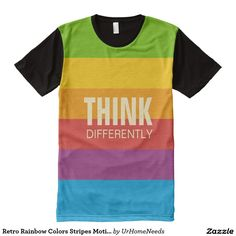Retro Rainbow Colors Stripes Motivational Quotes