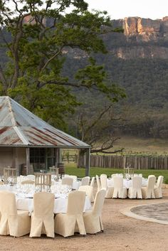 Outdoor Banquet Area at Emirates Wolgan Valley Resort & Spa, Wolgan Valley, New South Wales, Australia