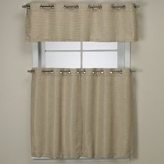 Maybe turn white curtains into this.  Will hide dog pen, but still let in plenty of light.